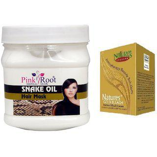 Pink Root Snake Oil Hair Mask 500gm With Natures Gold Bleach 50g