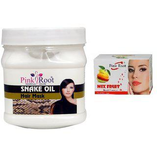 Pink Root Snake Oil Hair Mask 500gm With Mix Fruit Bleach 43g