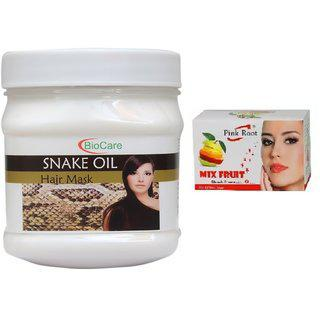 Pink Root Mix Fruit Bleach 43g With Biocare Snake Oil Hair Mask 500g