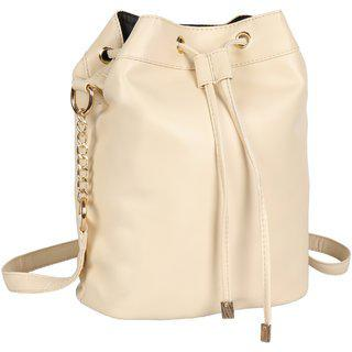 Lychee Bags Pu Cream Abbie Sling Bag For Girls
