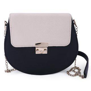 Bagstopia Black And Cream Sling Bag