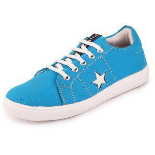 Fausto Women's Sky Blue Lace Up Sneakers Casual Shoes