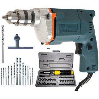 Tiger 10 Mm Electric Drill Machine With 41 Pcs Screwdriver Kit plus 13hss Bits plus 1 Masonry Bit