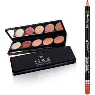 Buy Glamgals 5 Color Lipstick Palette 9g & Get Lip Liner Pencil Free