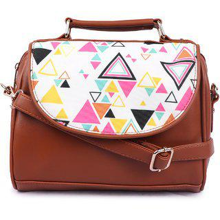 Suprino Casual, Stylish, Latest Synthetic Sling Bag For Girls & Women, Best For Teens College, Office, Outing, Shopping And For Daily Travel Available In Brown Triangle Multi Color.