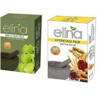 Elina Herbals Natural And Organic 100 Premium Herbals Face Hair Combo Pack (uptan Amla)-200gms.