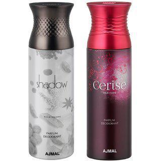 Ajmal Shadow Homme & Cerise Deodorant Spray For Men & Women (200 ml, Pack of 2)