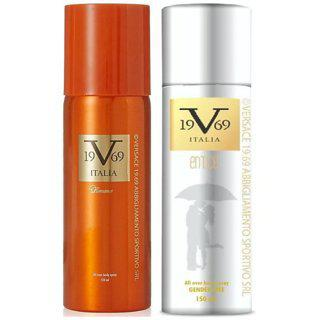 Versace 19v69 Romance And Entice Deodorant Spray - For Men Women (150 Ml Each )pack Of 2