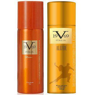 Versace 19v69 Allure And Romance Deodorant Spray - For Men Women (150 Ml Pack Of 2)