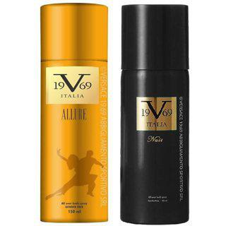 Versace 19v69 Allure And Nuit Deodorant Spray - For Men Women (150 Ml Each Pack Of 2)