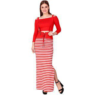 TEXCO Red and White Striped Suspender Two-Pieces Women Dress