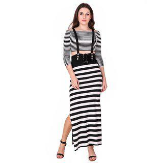 TEXCO Black and White Striped Suspender Women Two Piece Dress