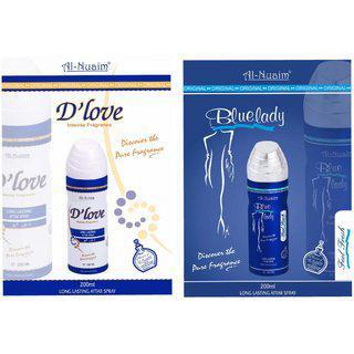 Al-nuaim Deodorant Spray Buy 1 Get 1 Free (d'love plus Blue Lady) (alchohol Free)