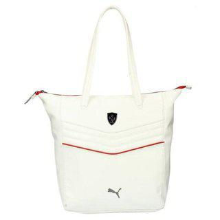 Puma White Faux Leather Shoulder Bag For Women