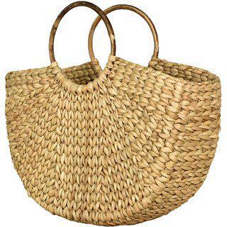 L'bohe Straw-dry Grass/ Natural Cane/ Cotton Canvas/ Handbag-shopping Bag-market Bag - Straw Beach Bag Tote - Semi Circl