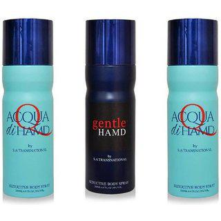 Hamd 2 Acqua 1 Gentle Deodorant Spray - For Men Women(600 Ml Pack Of 3)