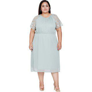 Oxolloxo Women's Plus Size Polyester Short Sleeve A-line Dresses