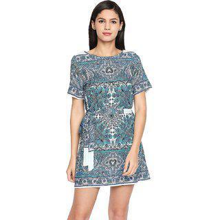 Oxolloxo Women Round Neck White Printed A-line Dress