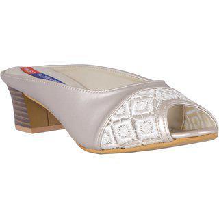 Msc Synthetic White Stylish Fancy Heels For Women