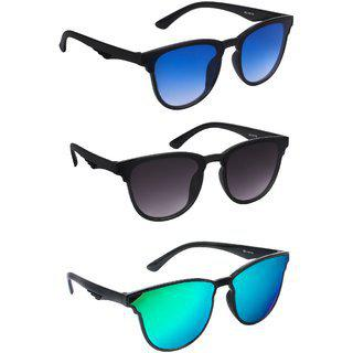 Thewhoop Combo New Uv Protected Rectangular Unisex Sunglasses (pack Of 3)