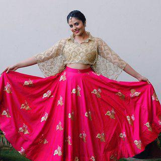 Salwar Soul Awesome Taffeta Net Can Can Rani Colors Lehenga Choli