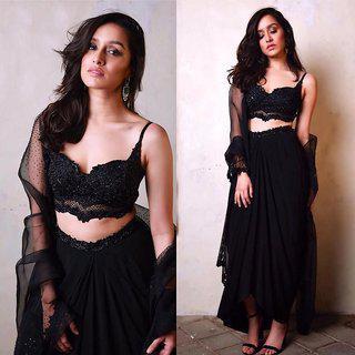 Salwar Soul Shraddha Kapoor Black Semi Stitched Lehenga Choli