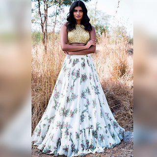 Salwar Soul Designer White Sequence Semi Stitched Crop Top