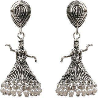 Silver Shine Attractive Silver Dancing Women Jhumki Earrings
