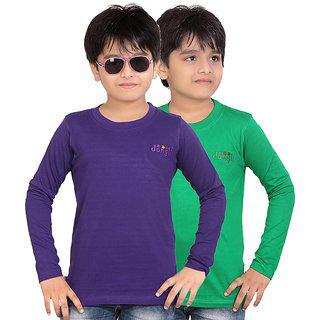 FabTag  - Dongli Boys Solid, Self Design T Shirt(Multicolor, Pack of 2)