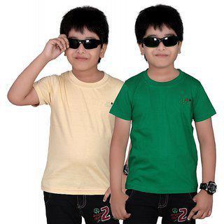 Dongli Boys Marvellous Half Sleeve T-shirt (pack Of 2)dl450_beige_green