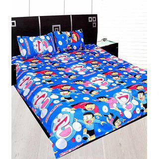 Little Joy Floral Design Double Bed Sheet With 2 Pillow Cover