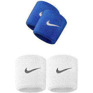 Verceys Blue And White Sports Wrist Band - Pack Of 4