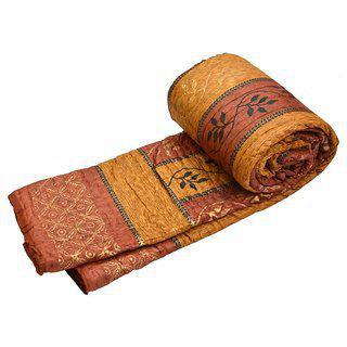 Krg Enterprises Double Bed Premium Jaipuri Razai Goldprint Rajasthani Quilt Winter Rajai Blanket