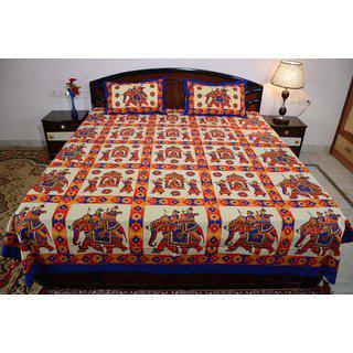 Vivid Rajasthan Multicolour Vibrant Cotton Double Queen Size Bedsheet(db441)