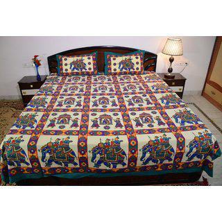 Vivid Rajasthan Multicolour Vibrant Cotton Double Queen Size Bedsheet(db442)