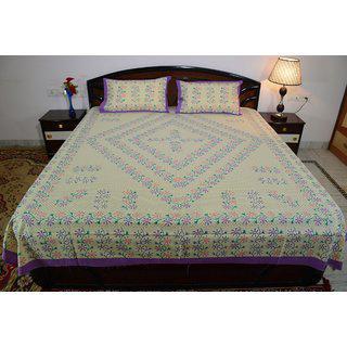Vivid Rajasthan Multicolour Vibrant Cotton Double Queen Size Bedsheet(db445)