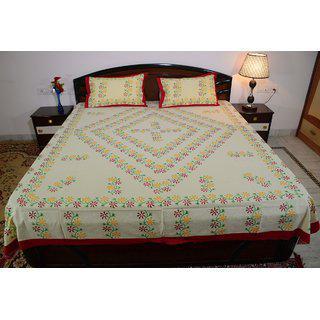 Vivid Rajasthan Multicolour Vibrant Cotton Double Queen Size Bedsheet(db446)