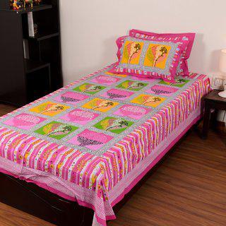 Chokor Jaipuri Cotton Single Bedsheet With 2 Pillows(r1s003)
