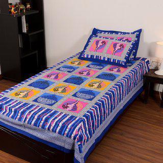 Chokor Jaipuri Cotton Single Bedsheet With 2 Pillows(r1s004)