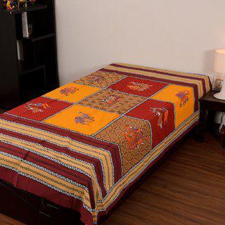 Chokor Jaipuri Cotton Single Bedsheet Without Pillows(r1swp002)