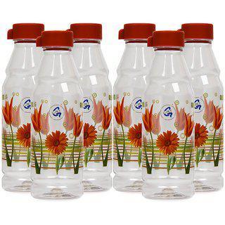 Gpet Fridge Water Bottles 1 Ltr Blossom Plastic Cap Set Of 6