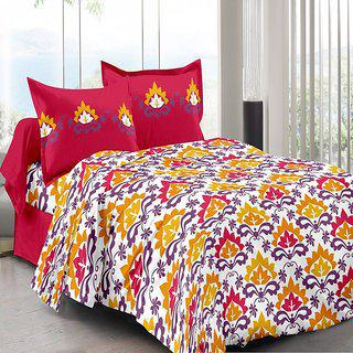Welhouse Red Traditional Design Color Fastness Cotton Double Bedsheet With 2 Contrast Pillow Cover-best Tc-175