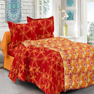 Welhouse Orange Floral Design 100 Organic Double Bedsheet With 2 Contrast Pillow Cover-best Tc-175