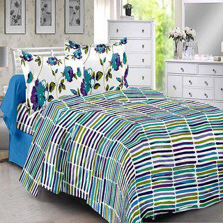 Welhouse Blue Stripes Design Eco-friendly Cotton Double Bedsheet With 2 Contrast Pillow Cover-best Tc-175