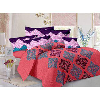 Valtellina Peach Traditional Design Skin Friendly Double Bedsheet With 2 Contrast Pillow Cover-best Tc-175