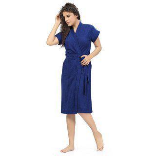 Be You Fashion Dark Blue Cotton Bathrobe