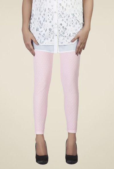 Soie Baby Pink Self Print Leggings