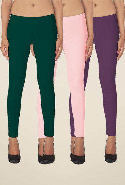 Soie Green, Baby Pink & Purple Solid Leggings (Pack of 3)