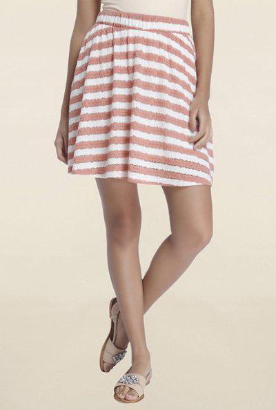 Vero Moda Striped Women A-line White, Pink Skirt