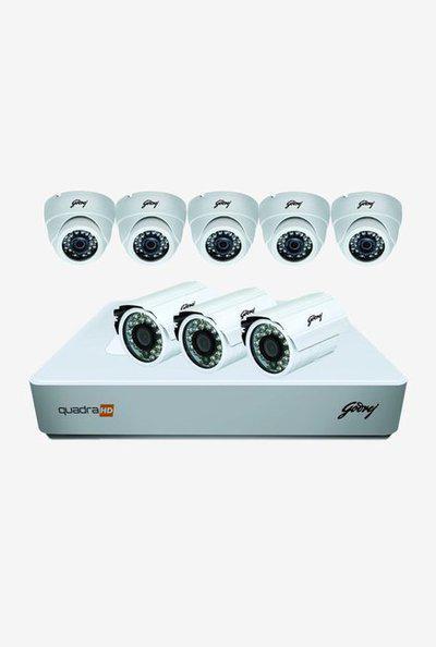 Godrej 720P See Thru 8 Channel 5 Dome 3 Bullet Cameras Full CCTV Camera Kit (White)